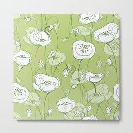 Stylized Poppies - green Metal Print