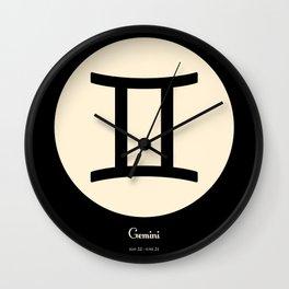 Gemini Symbol Black Wall Clock