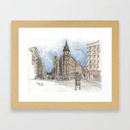 Barcelona Street Scene Framed Art Print