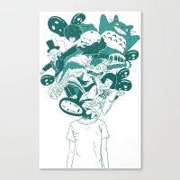 studio ghibli Canvas Prints featuring Studio ghibli mash up by Herdhi