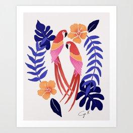 Tropical parrots - orange and blue palette Art Print