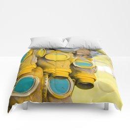 Yellow gas mask Comforters