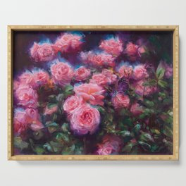Out of Dust, impressionist pink roses Serving Tray