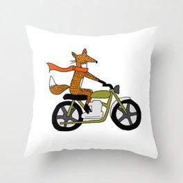 Fox on motorcycle Throw Pillow