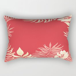 Tropical Leaves Poppy Red Rainforest Palm Beach Cottage Decor Rectangular Pillow