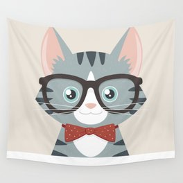 Grey Tabby Hipster Cat Wall Tapestry