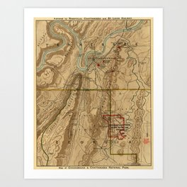 Map Of Chattanooga 1895 Art Print