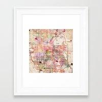 denver Framed Art Prints featuring Denver by MapMapMaps.Watercolors