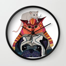mouse cat pug white Wall Clock