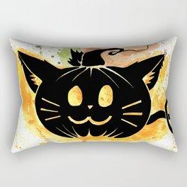pumpkin Cat Splash Silhouette Rectangular Pillow