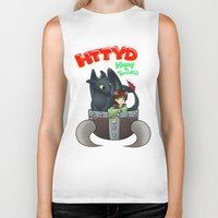 hiccup Biker Tanks featuring Hiccup and Toothless in a Helmet by snowrunt
