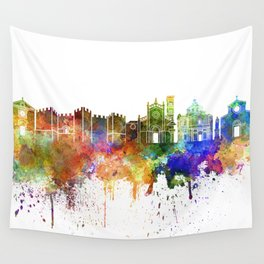 Prato skyline in watercolor background Wall Tapestry