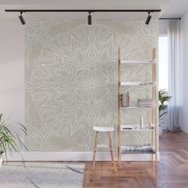 White Lace Mandala on Antique Ivory Linen Background Wall Mural
