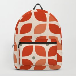 Red geometric floral leaves pattern in mid century modern style Backpack