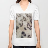 snow leopard V-neck T-shirts featuring Snow Leopard by Pauline Fowler ( Polly470 )