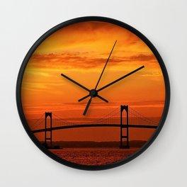 Newport Bridge - Newport, Rhode Island Orange Sunset Wall Clock