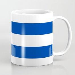 Dark Princess Blue and White Wide Horizontal Cabana Tent Stripe Coffee Mug