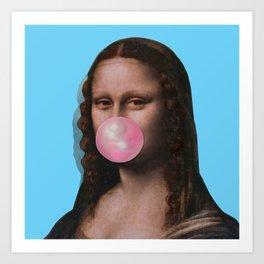 Mona Lisa (Leonardo da Vinci) with Bubblegum Art Print