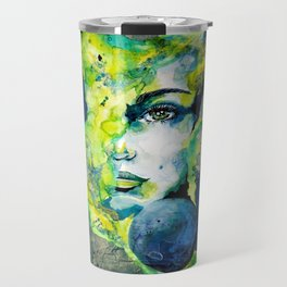 Esther Green (Set) by carographic watercolor portrait Travel Mug