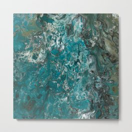 Ocean View, abstract poured painting Metal Print
