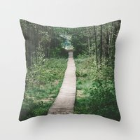 wooden Throw Pillows featuring Wooden Path by Errne