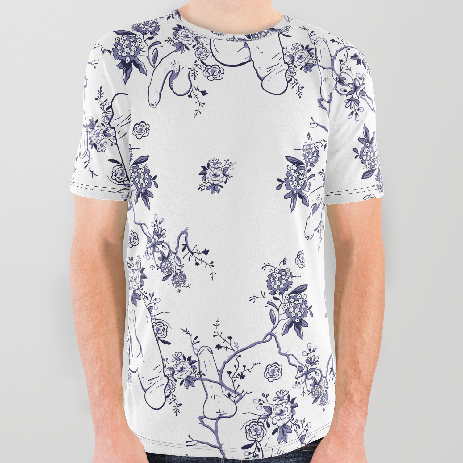 247e01840 Penis Pattern All Over Graphic Tee by dapperdan | Society6