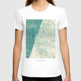 Tel Aviv Map Blue Vintage T-shirt