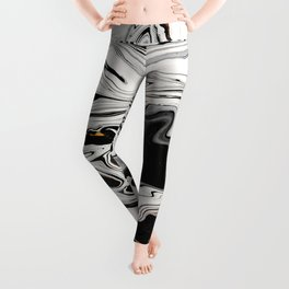 Black and Gold Liquid Paint Swirl Marble Pattern Leggings