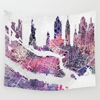 new york map Wall Tapestries featuring New York Skyline + Map by Map Map Maps