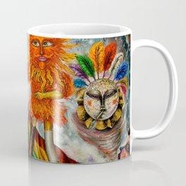 Gatos Malos, or Bad Kitties, portrait surrealist mural painting by A. Colunga Coffee Mug