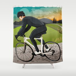 Road Cyclist Shower Curtain