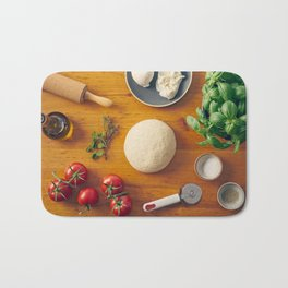 Ingredients for making pizza Bath Mat