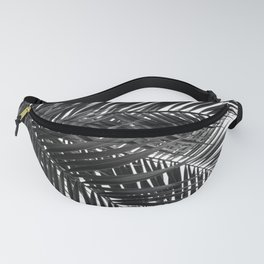 Tropical Palm Leaves - Black and White Nature Photography Fanny Pack