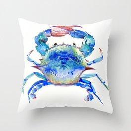 Blue Crab, crab restaurant seafood design art Throw Pillow