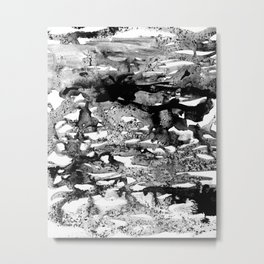Dexa - black and white minimal abstract painting brushstrokes artwork modern home decor piece Metal Print