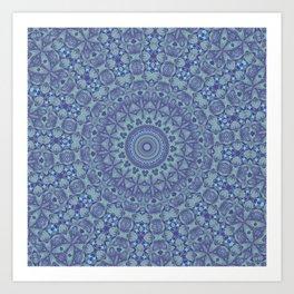Shades of blue mandala Art Print
