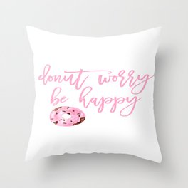 Donut Poster, Donut Worry Be Happy, Home Decor, Pink Poster, Girls Room Decor Throw Pillow