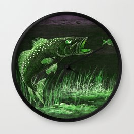 Trout Attack In Green Wall Clock