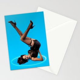 """Dizzy Desi"" - The Playful Pinup - Black Lingerie Pinup Girl by Maxwell H. Johnson Stationery Cards"