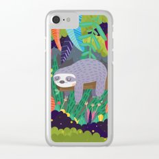 Sloth in nature Clear iPhone Case