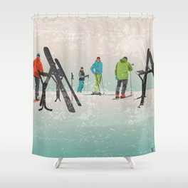 Skiers Summit Shower Curtain