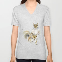 Two Squirrels Unisex V-Neck