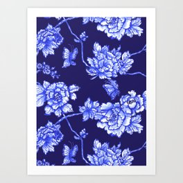 Chinoiserie Foral Navy Art Print
