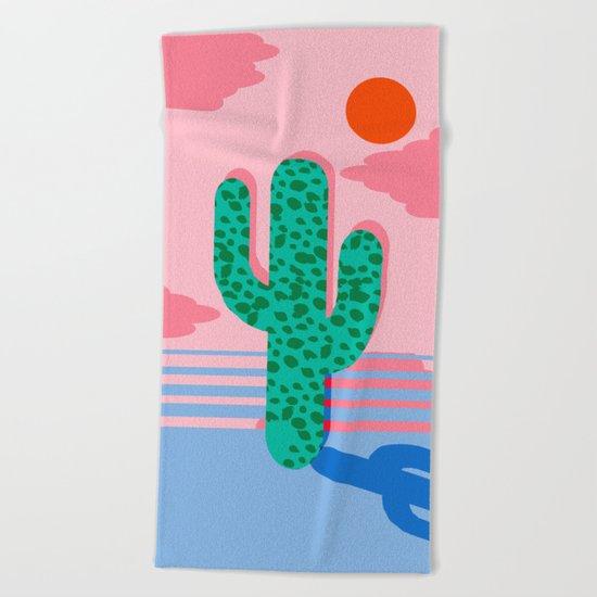 no foolin retro throwback neon art design minimal abstract cactus desert palm springs southwest beach - Large Beach Towels