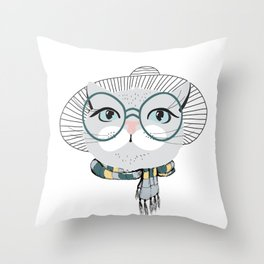 Style & fashion cat Throw Pillow