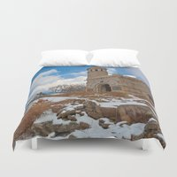 battlefield Duvet Covers featuring Winter Gettysburg Castle by Nicolas Raymond