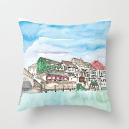 Strasbourg Alsace France Petite France Ill Waterfront Throw Pillow