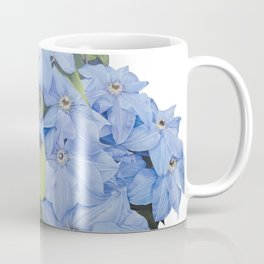 Blue Clematis Flowers on Knotted Fence Post Coffee Mug