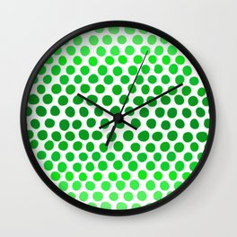 Apple Green and White Dots Ombre Wall Clock