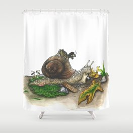 Little Worlds: Snail and Cricket Shower Curtain